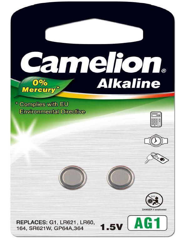 Pila Botón Alcalina LR60 1.5V 0% Mercurio (2 pcs) Camelion