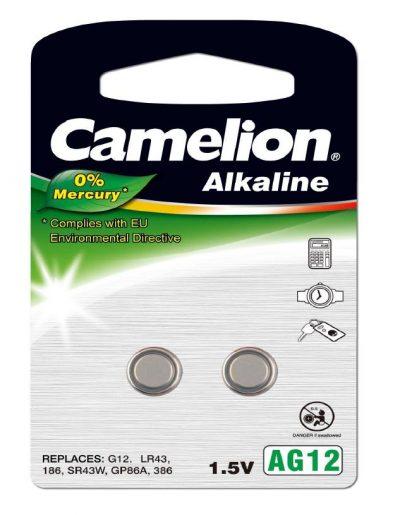 Pila Botón Alcalina LR43 1.5V 0% Mercurio (2 pcs) Camelion