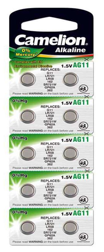 Pila Botón Alcalina LR58 1.5V 0% Mercurio (10 pcs) Camelion