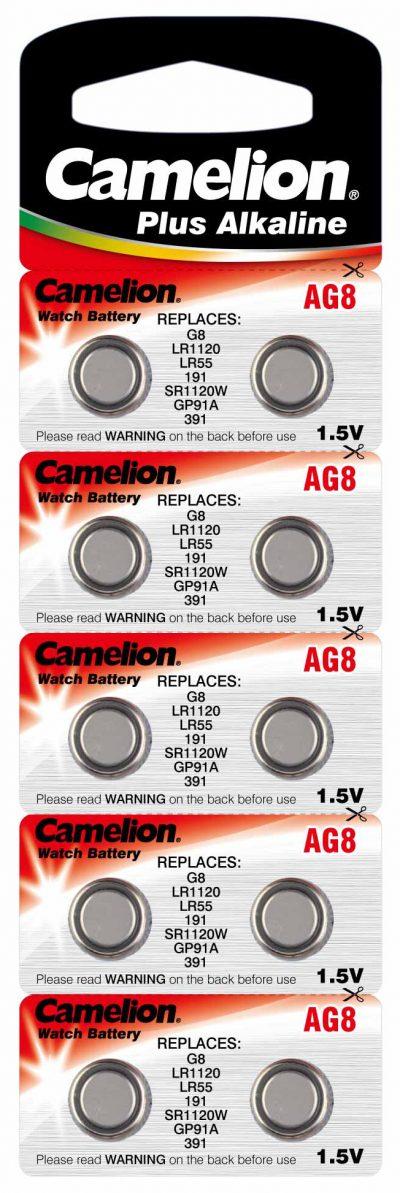 Boton Alcalina AG8/LR1120 1.5V (10 pcs) Camelion