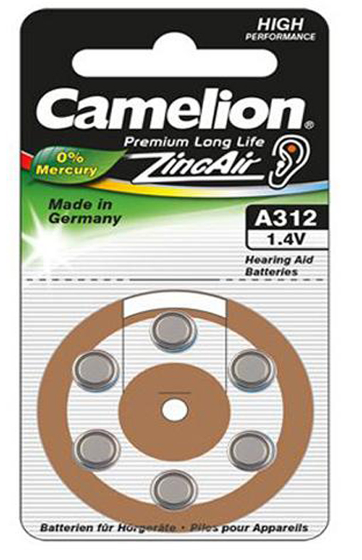 Boton Audifono A312/Marron 1.4V 0% Mercurio (6 pcs) Camelion