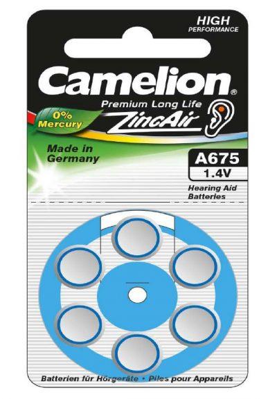 Boton Audifono A675/Azul 1.4V 0% Mercurio (6 pcs) Camelion