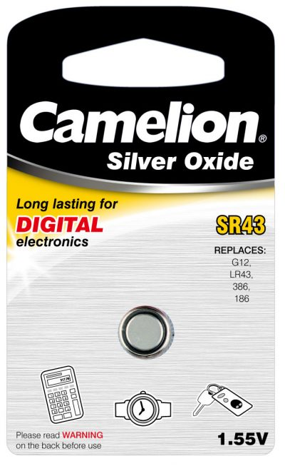 Boton Oxido plata SR43W 1.55V (1 pcs) Camelion