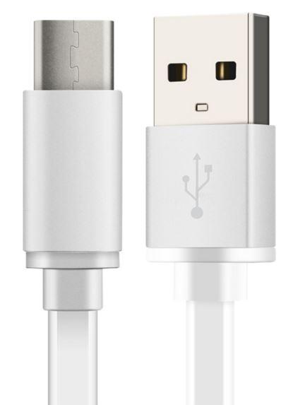 Cable plano carga USB 3.1 Tipo C Blanco