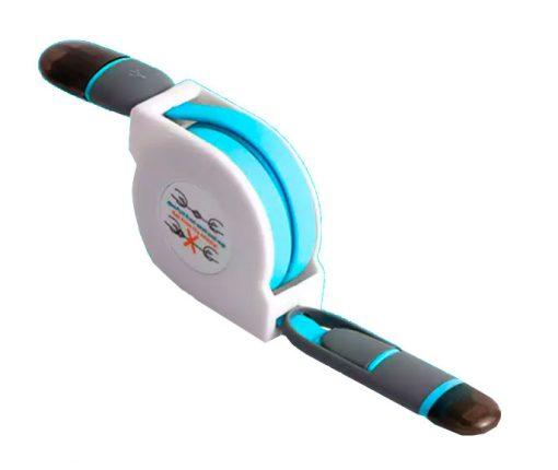 Cable Retráctil USB a Lightning+MicroUSB Azul