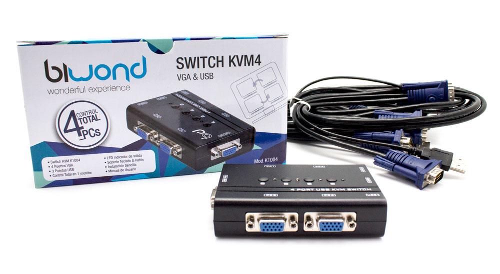 Conmutador KVM4 USB/VGA Switch 4 Puertos + Cables BIWOND