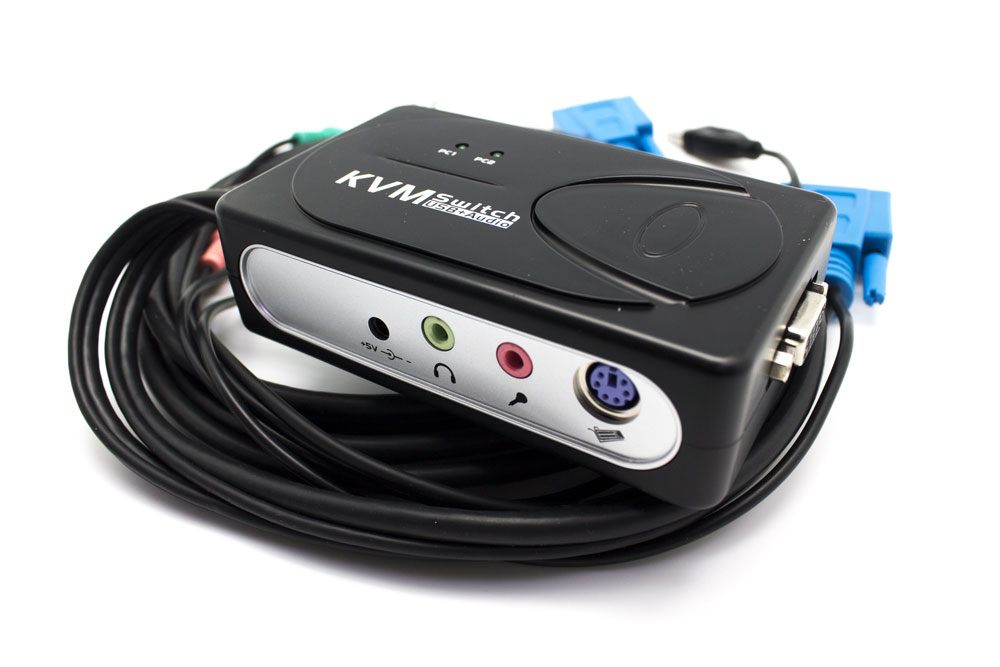 KVM Switch VGA USB 1U-2PC+ cable