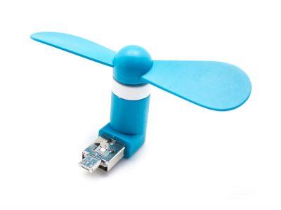 Mini Ventilador 2 en 1 USB+MicroUSB Universal Azul