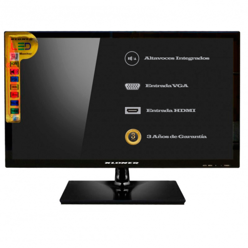 "Monitor LED GLASS 21.5"" HDMI+VGA+ Multimedia+Altavoces incluyedo"