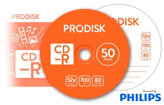 Tarrina CD-R Prodisk 50 unds