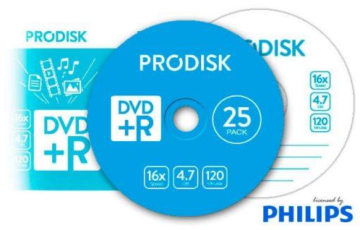 Tarrina DVD+R 4.7GB 16x Prodisk 25unds