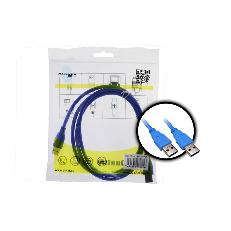 Cable USB 3.0 M/M 1.5m Kloner