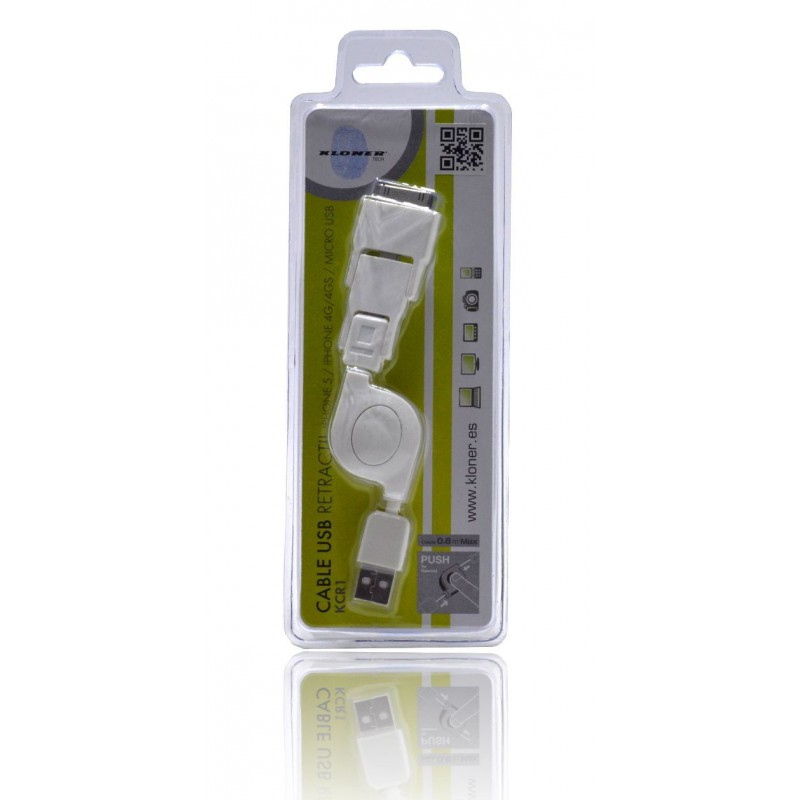 Cable USB Retractil 3 en 1 Iphone 5/4GS/4G y Micro USB Kloner