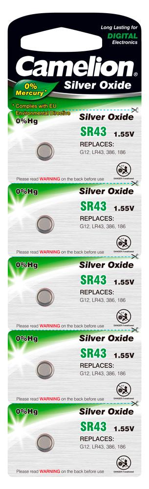 Boton Oxido plata SR43W 1.55V 0% Mercurio (5 pcs) Camelion