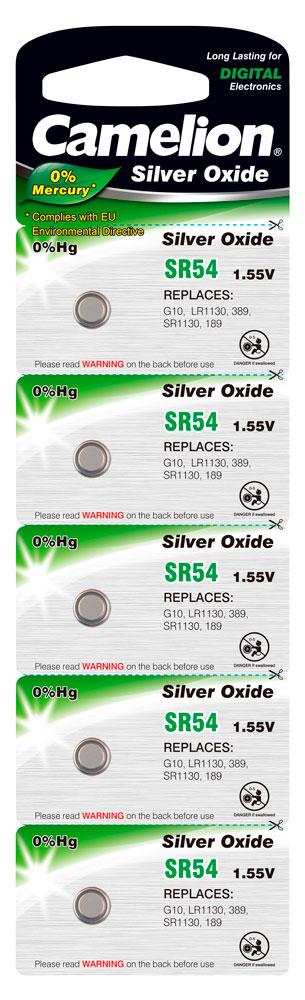 Boton Oxido plata SR54W 1.55V 0% Mercurio (5 pcs) Camelion