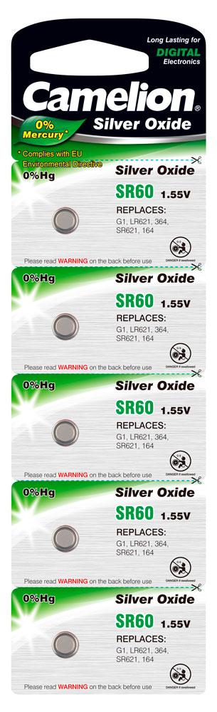 Boton Oxido plata SR60W 1.55V 0% Mercurio (5 pcs) Camelion
